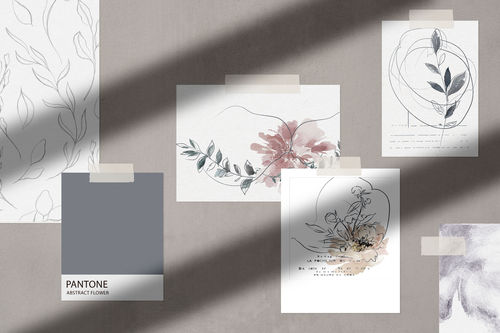 Designpapier _ Motivpapier _ Set Abstract Flower