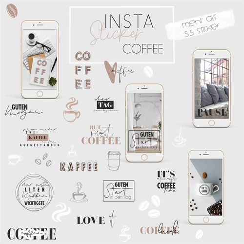 Instagram Story Sticker _ Coffee _ +55 Stück _ Download